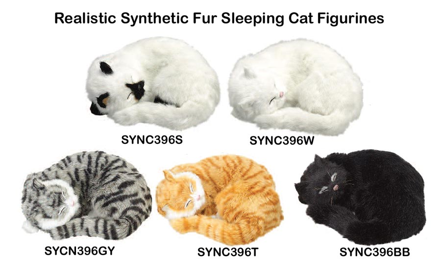 Realistic Synthetic Fur Cat Figurines